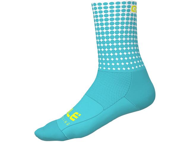 Alé Cycling Dots Sokken 16cm, turquoise-white